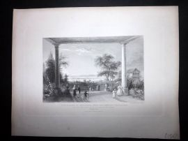 After Bartlett 1846 Antique Print. City & Lake of Constance, Switzerland